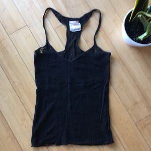 Free people intimately black crocheted tank